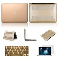 """Macbook Pro 13.3"""" with Retina Case,IC ICLOVER Rubberized Matte Hard Shell Plastic Case+Matching Keyboard Skin+LCD HD Screen Protector for MacBook Pro 13.3"""" with Retina Display A1502/A1425(Gold)"""