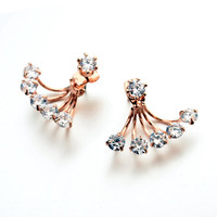 Push-back Trendy Gold Plated Crystal Stud Earrings For Women 2080154001