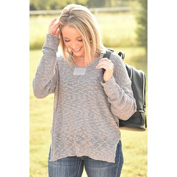 Wrap Me Up Knit Top - Steel Gray