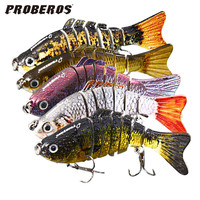 10cm 3D Eyes Lifelike Fishing Lure With Treble Hooks 7 Jointed Sections Swimbait Hard Bait Isca Artificial Lures Fishing Tackle