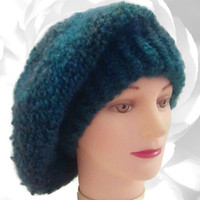 Blue Hat, Teal Hat, Green Hat, Blue Green Hat, Teal Slouchy, Multicolor Hat, Winter Hat, Fuzzy Hat, Chunky Hat, Red Hat, French Beret