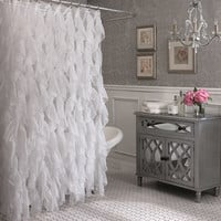 "Royal Bath Cascading Waterfall Ruffled Sheer Fabric Shower Curtain 70"" x 72"""
