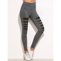 Grey Marled Knit Mesh Insert Ripped Leggings