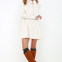 Scheme of Things Cream Long Sleeve Dress