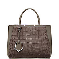 Fendi - 2Jours Petite Crocodile-Embossed Calf Hair & Leather Shopper - Saks Fifth Avenue Mobile