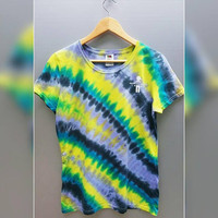 Tie Dye Licorice Stripe Ladies Women's US Size Large Tee T-Shirt Top, Gym, Casual, Girl's, Rainbow, Gift For Her, Boho, Gypsy, Hippie, Hippy