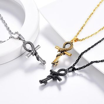 Ancient Egypt Ankh Cross Wadjet Necklace by U 7 Official Store