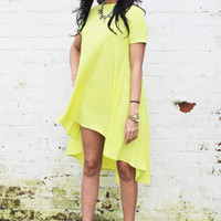 Short Sleeve Swing T-Shirt Dress with Dipped Back Hem in Acid Yellow Green
