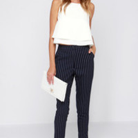 Sunday Girl Navy Blue Striped Pants
