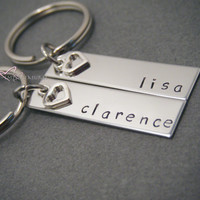 Personalized Keychains, Name Keychains, Stamped Keychains, Heart Charm, Couples Gift, Wedding Gift, Personalized Gift