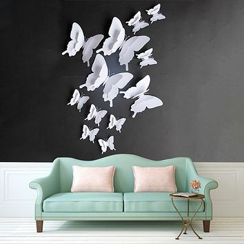 Lovely White Butterfly Set DIY Wall Sticker Living Room Bedroom Home Decoration