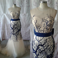 2015 New Arrival Mermaid Style Champagne Tulle Dark Royal Blue Embroidery Bowknot Formal Evening Dress Prom Dress Party Dress ET156