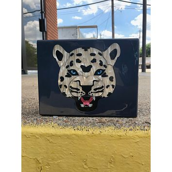 Leopard vintage bamboo handle acrylic clutch with Clear Clasp