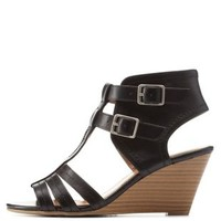 Black City Classified T-Strap Wedge Sandals