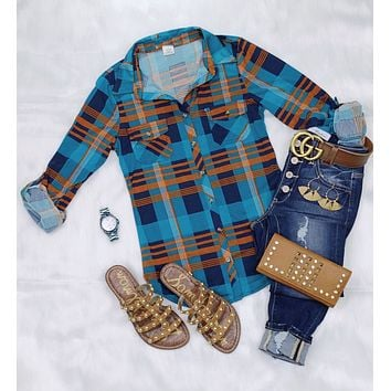 Penny Plaid Flannel Top - Teal/Rust