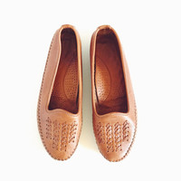 Vintage, Dexter, Woven, Leather, 1980s, Loafers, Womens, Size 9