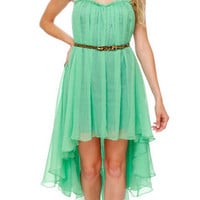 Blaque Label Strapless High Low Mint Green/Turquoise Dress