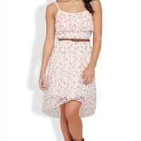 High Low Dress with Ditsy Floral Print, Ruffle Front, and Braided Belt