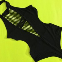 Vtg Black Fishnet Mesh Halterneck Collar Bodysuit / Retro High Cut Thong Onesuit / Sexy Backless Leotard / Exotic Clubwear Pole Dance Costume