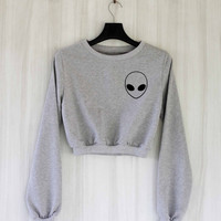 Alien Crop Top Sweatshirt Sweater Shirt – Size S M L