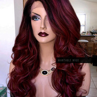 Red Lace Wig // Burgundy LACE FRONT Curly Ombre Wig // Mixed Tone Heat OK // Wine Red Part Long Wig for Chemo, Wavy Ariel Cosplay // #BE50