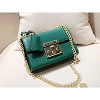 GUCCI fashion hot seller casual lady embossed clamshell single-shoulder shopping bag Green