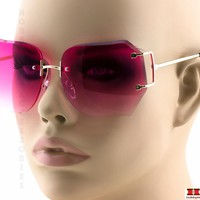 2-PAIR STYLISH Women Sunglasses Rimless DIAMOND CUT Eyewear Gold Frame Pink Lens