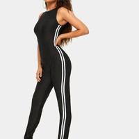 Black & White Side Stripe Zipper Back Slim Fit Jumpsuit