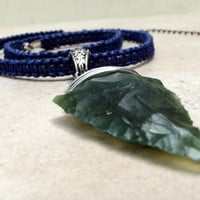 Men's Tribal Necklace:  Navy Blue Macrame, Woodland Forest Green Arrowhead Point Silver Wire Wrapped Bohemian Unisex Jewelry