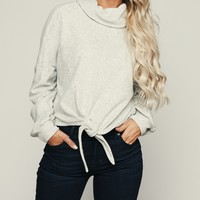 All Tied Up Cowl Neck Sweater (Heather Grey)