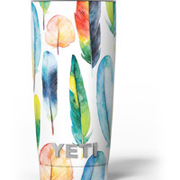 Bright Water Color Painted Feather Yeti Rambler Skin Kit