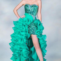 PRIMA C137685 Sequin High Low Prom Dress