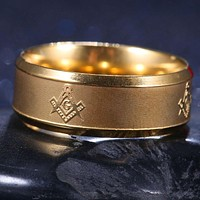 8mm Masonic Gold Stainless Steel Band Ring