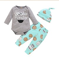 Cotton Printed Newborn Baby Boys Girls Clothes Sets Winter Long Sleeve Bodysuits And Pants Hat Casual Infant Girls Outfits D30