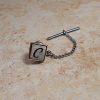 Swank Vintage Tie Tack Lapel Pin Letter Initial C Mens Textured Silver Tone Formal Jewelry Gift Best Man Groom Fathers Day Anniversary
