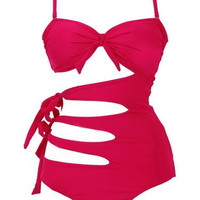 Red Multi Strap Feature Swimsuit - Red / UK