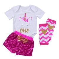 Unicorn First Birthday 3-Piece Set
