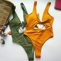 2018 Solid Color Sexy One Piece Swimwear