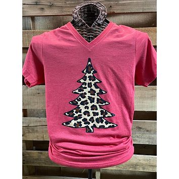 Southern Chics Leopard Christmas Tree Canvas Girlie T Shirt