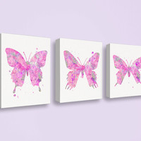 Butterfly Canvas Art, Canvas Print Set, Watercolor Butterfly, Baby Girl Nursery, Girls Room Decor, Girly Wall Art, Butterfly Art Print, Pink