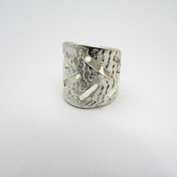 Wide Silver Ring, Statement Jewelry, Open 925 Thumb Ring, Cuttlefish Bone Ring, Textured, Adjustable Ring