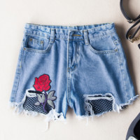 Embroidered net yarn floral wide leg jeans shorts