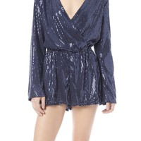 v-neck long sleeve sequin romper