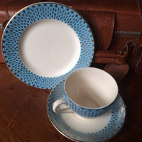 Vintage Tea Cup, Saucer and Side Plate Baby Blue & Gold