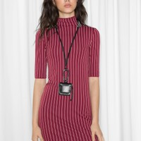 & Other Stories | Pinstripe Dress | Pinstripe / Burgundy