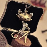 Rhinestone Necklace Woman's Crystal  Vintage Sexy Girl Cat Long Necklace Retro Chain Pendant