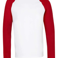 White/Red Contrast Raglan Long Sleeve T-Shirt - TOPMAN