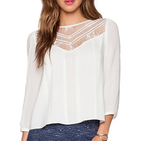 Alice + Olivia Heidi Lace Top in Ivory