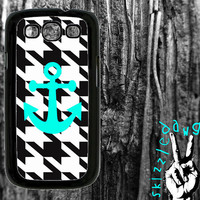 Houndstooth and Turquoise Anchor Samsung Galaxy S3 Cell Phone Case Cover Original Trendy Stylish Design