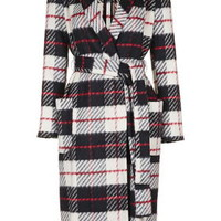 Check Belted Wool Blend Coat - Monochrome